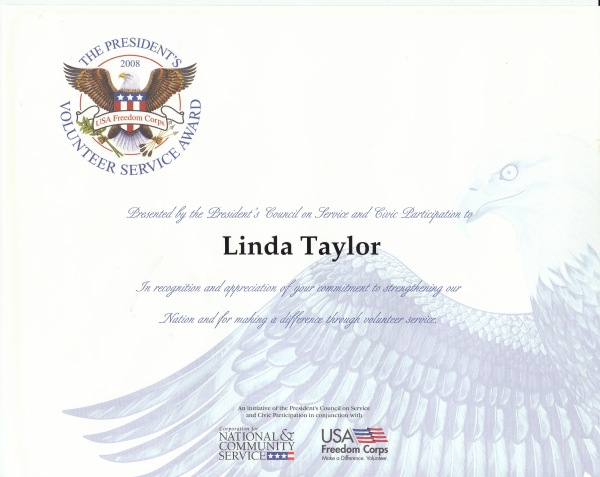 Linda Taylor, President's Volunteer Service Award, Bronze Medal, UNICEF USA (2009)